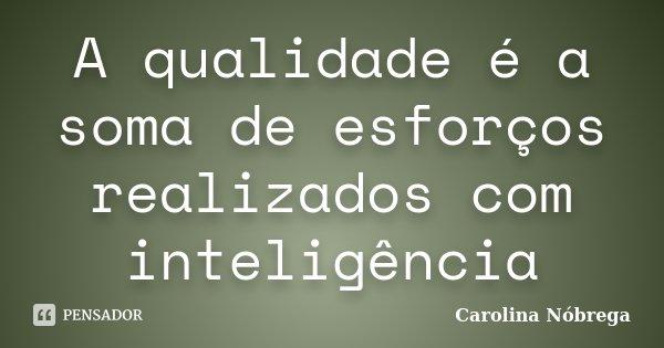 A qualidade é a soma de esforços realizados com inteligência... Frase de Carolina Nóbrega.