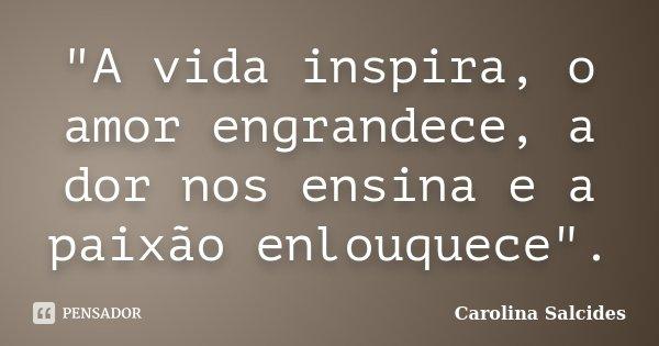 """""""A vida inspira, o amor engrandece, a dor nos ensina e a paixão enlouquece"""".... Frase de CAROLINA SALCIDES."""