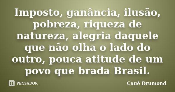 Imposto, ganância, ilusão, pobreza, riqueza de natureza, alegria daquele que não olha o lado do outro, pouca atitude de um povo que brada Brasil.... Frase de Cauê Drumond.
