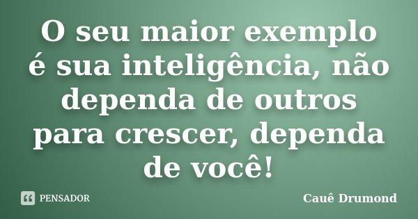 O seu maior exemplo é sua inteligência, não dependa de outros para crescer, dependa de você!... Frase de Cauê Drumond.