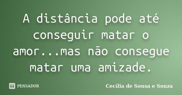 A distância pode até conseguir matar o amor...mas não consegue matar uma amizade.... Frase de Cecília de Sousa e Souza.