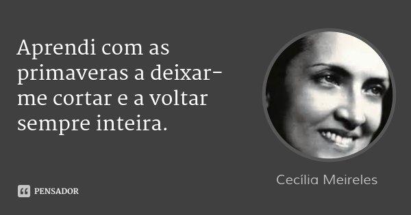 Aprendi com as primaveras a deixar-me cortar e a voltar sempre inteira.... Frase de Cecília Meireles.