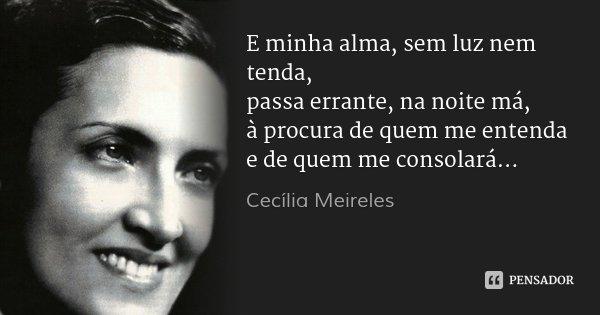 E minha alma, sem luz nem tenda, passa errante, na noite má, à procura de quem me entenda e de quem me consolará...... Frase de Cecília Meireles.