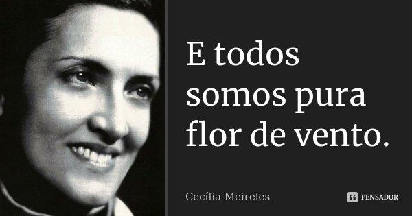 E todos somos pura flor de vento.... Frase de Cecília Meireles.
