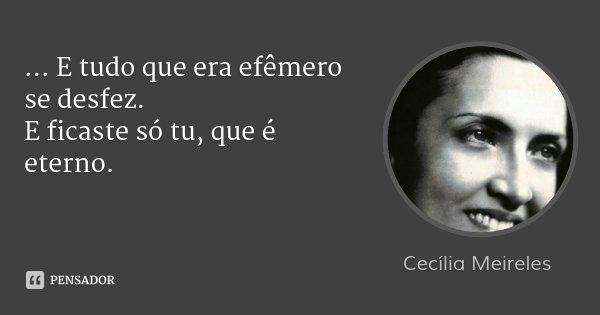... E tudo que era efêmero se desfez. E ficaste só tu, que é eterno.... Frase de Cecília Meireles.