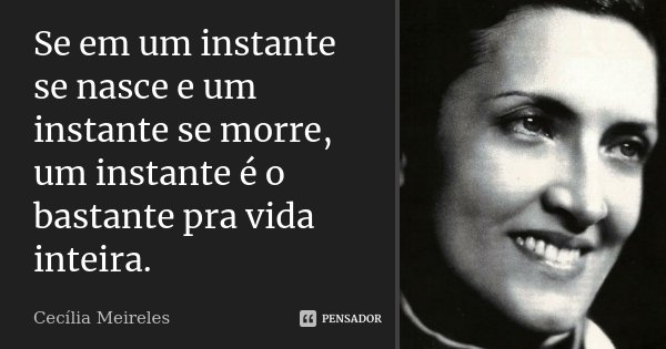Se em um instante se nasce e um instante se morre, um instante é o bastante pra vida inteira.... Frase de Cecília Meireles.