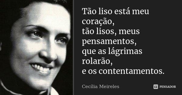 Tão liso está meu coração, tão lisos, meus pensamentos, que as lágrimas rolarão, e os contentamentos.... Frase de Cecília Meireles.