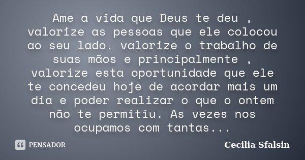 Ame a vida que Deus te deu , valorize as pessoas que ele colocou ao seu lado, valorize o trabalho de suas mãos e principalmente , valorize esta oportunidade que... Frase de Cecilia Sfalsin.