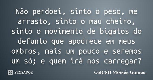 Não perdoei, sinto o peso, me arrasto, sinto o mau cheiro, sinto o movimento de bigatos do defunto que apodrece em meus ombros, mais um pouco e seremos um só; e... Frase de CelCSB Moisés Gomes.