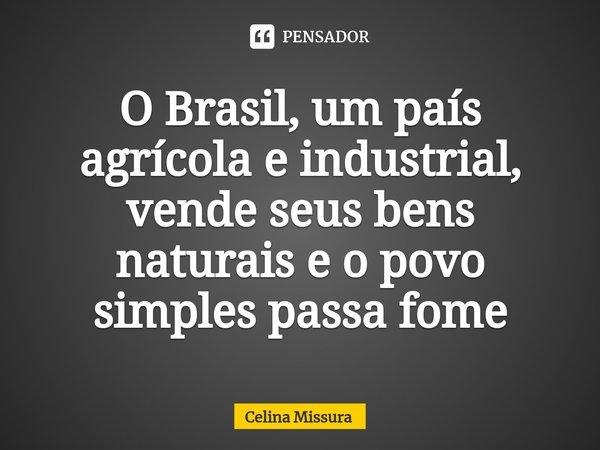 O Brasil, um país agrícola e industrial, vende seus bens naturais e o povo simples passa fome... Frase de Celina Missura.