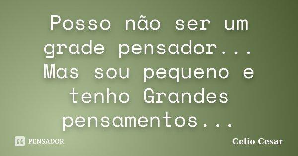 Posso não ser um grade pensador... Mas sou pequeno e tenho Grandes pensamentos...... Frase de Celio Cesar.
