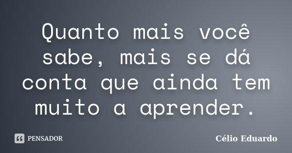 Quanto mais você sabe, mais se dá conta que ainda tem muito a aprender.... Frase de Célio Eduardo.