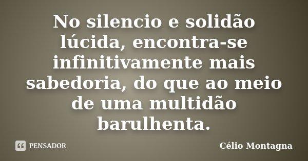 No silencio e solidão lúcida, encontra-se infinitivamente mais sabedoria, do que ao meio de uma multidão barulhenta.... Frase de Célio Montagna.