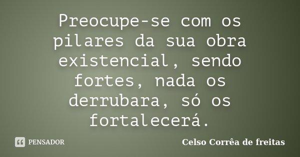 Preocupe-se com os pilares da sua obra existencial, sendo fortes, nada os derrubara, só os fortalecerá.... Frase de Celso Corrêa de Freitas.