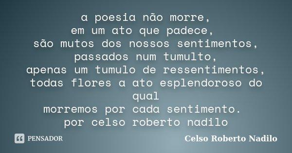 a poesia não morre, em um ato que padece, são mutos dos nossos sentimentos, passados num tumulto, apenas um tumulo de ressentimentos, todas flores a ato esplend... Frase de celso roberto nadilo.