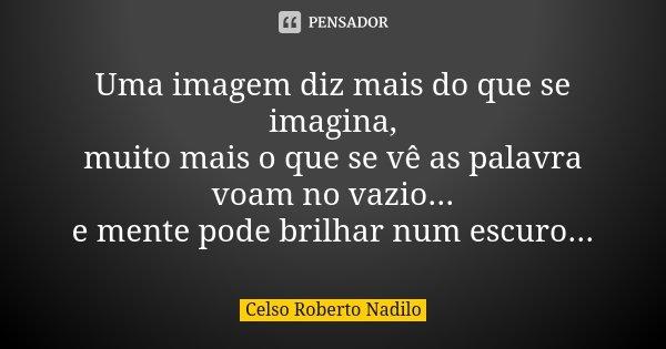Uma imagem diz mais do que se imagina, muito mais o que se vê as palavra voam no vazio... e mente pode brilhar num escuro...... Frase de Celso Roberto Nadilo.
