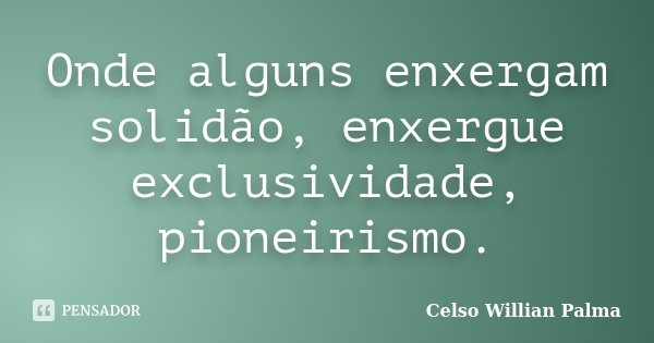 Onde alguns enxergam solidão, enxergue exclusividade, pioneirismo.... Frase de Celso Willian Palma.