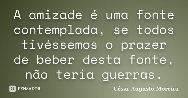 A amizade é uma fonte contemplada, se todos tivéssemos o prazer de beber desta fonte, não teria guerras.... Frase de César Augusto Moreira.