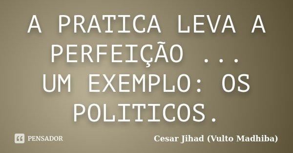 A PRATICA LEVA A PERFEIÇÃO ... UM EXEMPLO: OS POLITICOS.... Frase de Cesar Jihad (Vulto Madhiba).