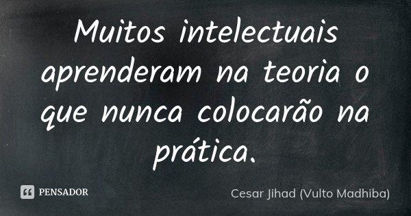 Muitos intelectuais aprenderam na teoria o que nunca colocarão na prática.... Frase de César Jihad (Vulto Madhiba).