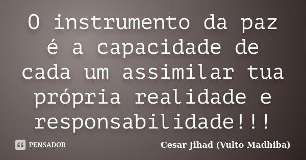 O instrumento da paz é a capacidade de cada um assimilar tua própria realidade e responsabilidade!!!... Frase de César Jihad (Vulto Madhiba).