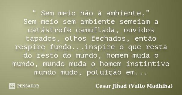 """"""" Sem meio não á ambiente."""" Sem meio sem ambiente semeiam a catástrofe camuflada, ouvidos tapados, olhos fechados, então respire fundo...inspire o que resta do ... Frase de Cesar Jihad (Vulto Madhiba)."""