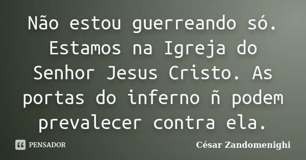 Não estou guerreando só. Estamos na Igreja do Senhor Jesus Cristo. As portas do inferno ñ podem prevalecer contra ela.... Frase de Cesar Zandomenighi.
