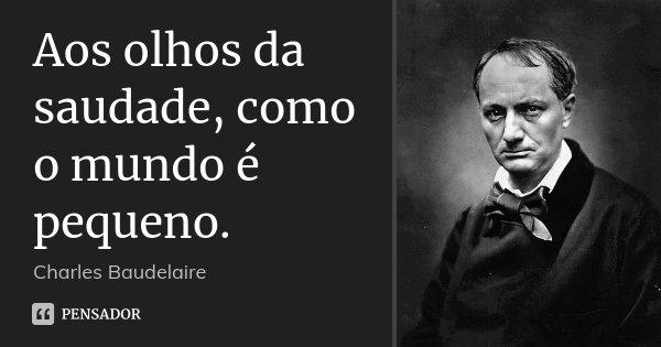 Aos olhos da saudade, como o mundo é pequeno.... Frase de Charles Baudelaire.