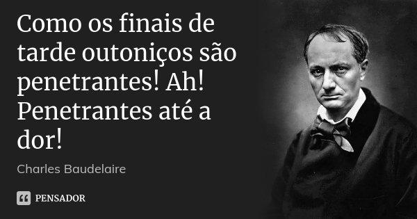 Como os finais de tarde outoniços são penetrantes! Ah! Penetrantes até a dor!... Frase de Charles Baudelaire.