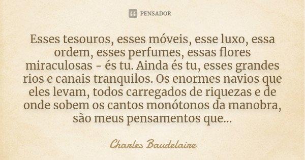 Esses tesouros, esses móveis, esse luxo, essa ordem, esses perfumes, essas flores miraculosas - és tu. Ainda és tu, esses grandes rios e canais tranquilos. Os e... Frase de Charles Baudelaire.