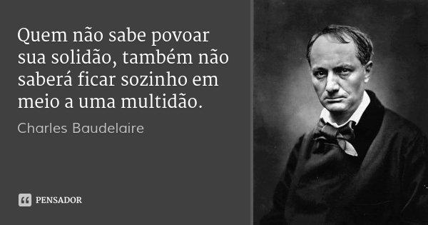 Quem não sabe povoar sua solidão, também não saberá ficar sozinho em meio a uma multidão.... Frase de Charles Baudelaire.