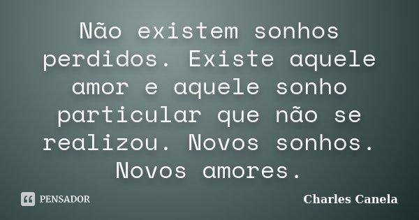 Não existem sonhos perdidos. Existe aquele amor e aquele sonho particular que não se realizou. Novos sonhos. Novos amores.... Frase de Charles Canela.