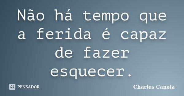 Não há tempo que a ferida é capaz de fazer esquecer.... Frase de Charles Canela.