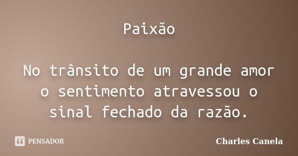 Paixão No trânsito de um grande amor o sentimento atravessou o sinal fechado da razão.... Frase de Charles Canela.