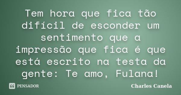 Tem hora que fica tão difícil de esconder um sentimento que a impressão que fica é que está escrito na testa da gente: Te amo, Fulana!... Frase de Charles Canela.