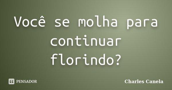 Você se molha para continuar florindo?... Frase de Charles Canela.