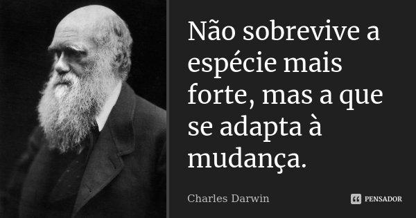 Não sobrevive a espécie mais forte, mas a que se adapta à mudança.... Frase de Charles Darwin.