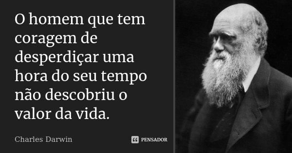 O homem que tem coragem de desperdiçar uma hora do seu tempo não descobriu o valor da vida.... Frase de Charles Darwin.
