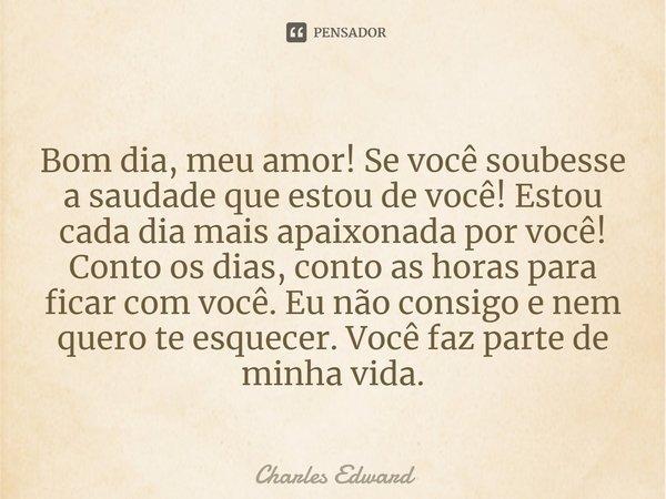 """Bom dia meu AMOR! Se você soubesse a saudade que estou de você! estou cada dia mais apaixonada por você! """"Conto os dias, conto as horas para ficar com você... Frase de Charles Edward."""