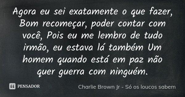 Agora eu sei exatamente o que fazer, Bom recomeçar, poder contar com você, Pois eu me lembro de tudo irmão, eu estava lá também Um homem quando está em paz não ... Frase de Charlie Brown Jr - Só Os Loucos Sabem.