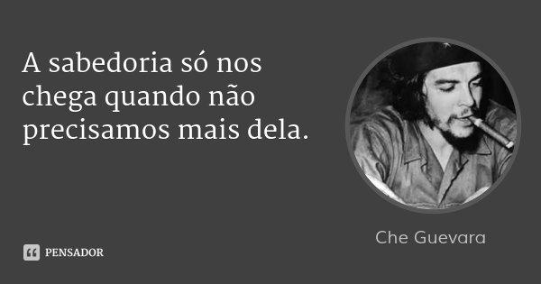 A sabedoria só nos chega quando não precisamos mais dela.... Frase de Che Guevara.