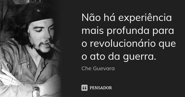 Não há experiência mais profunda para o revolucionário que o ato da guerra.... Frase de Che Guevara.