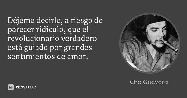 Déjeme decirle, a riesgo de parecer ridículo, que el revolucionario verdadero está guiado por grandes sentimientos de amor.... Frase de Che Guevara.