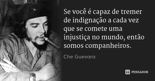 Se você é capaz de tremer de indignação a cada vez que se comete uma injustiça no mundo, então somos companheiros.... Frase de Che Guevara.