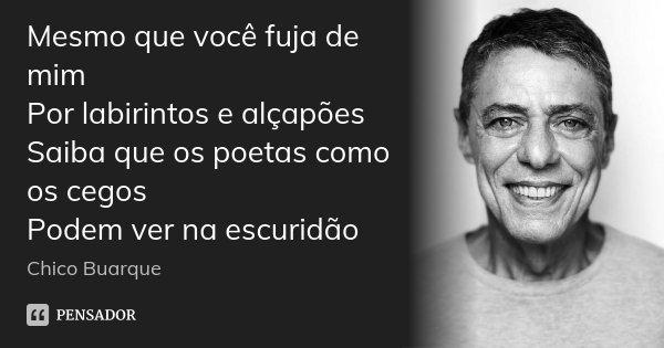 Mesmo que você fuja de mim Por labirintos e alçapões Saiba que os poetas como os cegos Podem ver na escuridão... Frase de Chico Buarque.