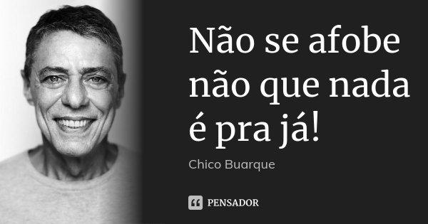 Não se afobe não que nada é pra já!... Frase de Chico Buarque.