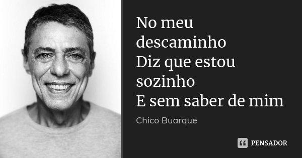 No meu descaminho Diz que estou sozinho E sem saber de mim... Frase de Chico Buarque.