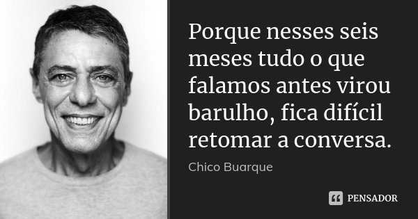 Porque nesses seis meses tudo o que falamos antes virou barulho, fica difícil retomar a conversa.... Frase de Chico Buarque.