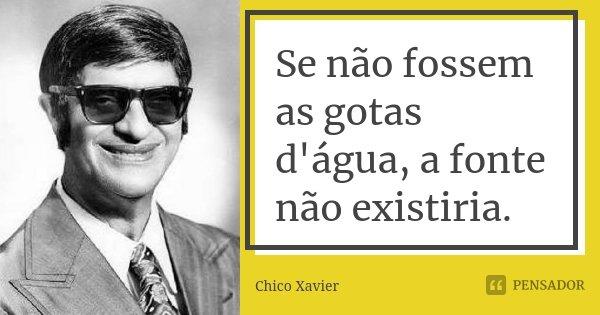 Se não fossem as gotas d'água, a fonte não existiria.... Frase de Chico Xavier.