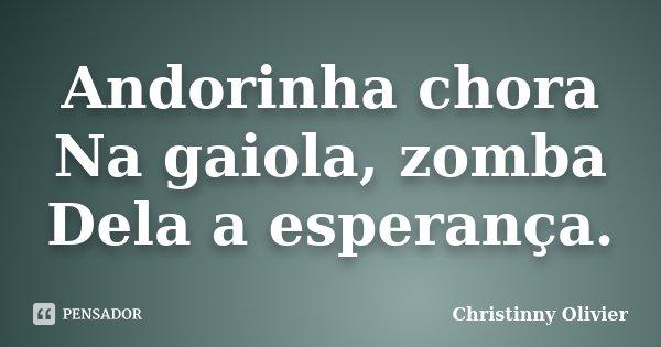 Andorinha chora Na gaiola, zomba Dela a esperança.... Frase de Christinny Olivier.
